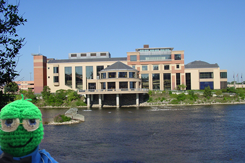 "The Grand Rapids Public Museum with NEHA mascot ""Lex."""