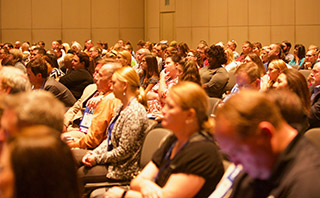 Large crowd at a session