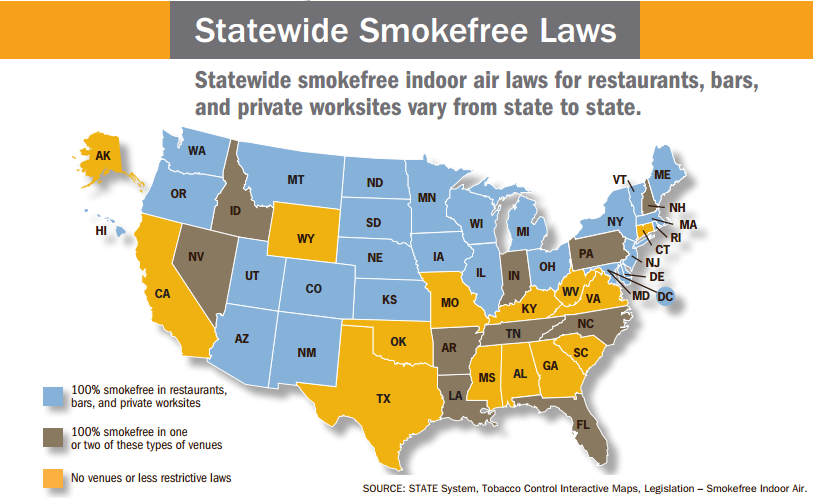 statewide smoke free laws for United States Map