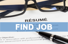 Find Job image with resume and glasses